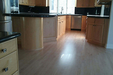 Hardwood floor refinishing for kitchens